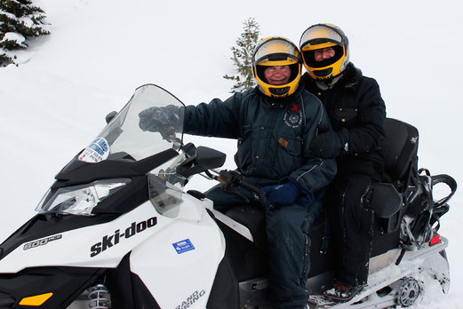 Snowmobiling in Yellowstone, winter in the Rocky Mountains
