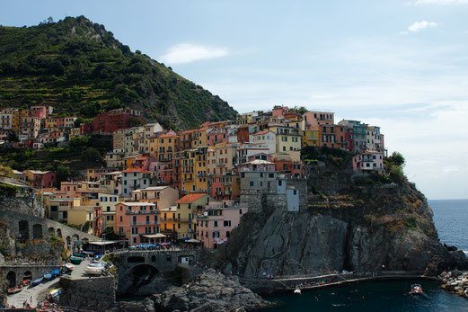 Manarola, view from the port, Cinque Terre, travel guide