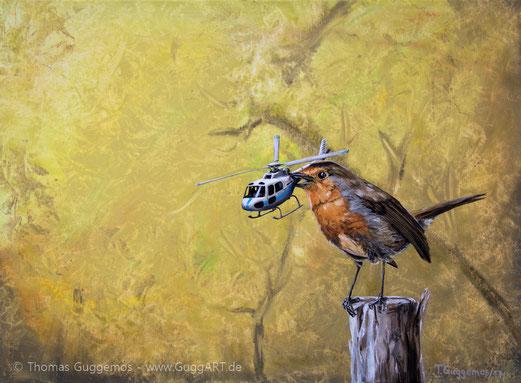 Landeplatz, der frühe Vogel, Hubschrauber, Helikopter, Beute, Kunst, gemälde, Guggemos, Acrylfarbe, Malen