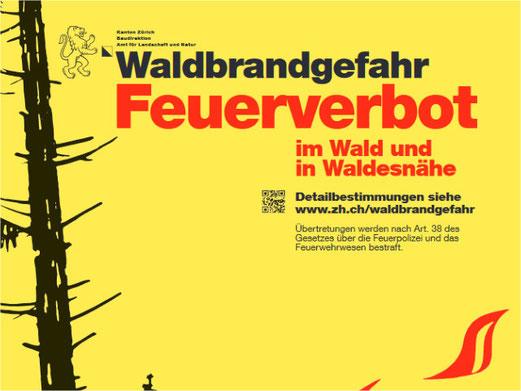 Im Kanton Zürich gilt ein Feuerverbot wegen Waldbrandgefahr. Bild: Kt. Zürich