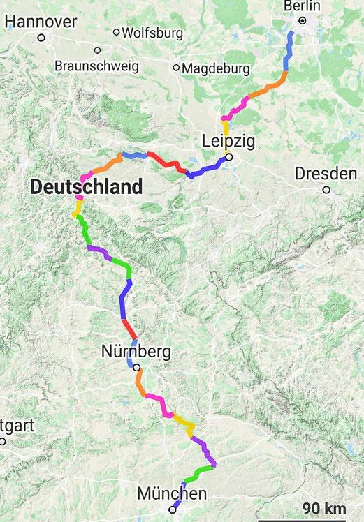 Deutschlandkarte mit den Etappen der Radreise 2020