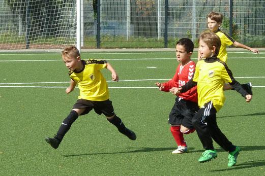 TuS F2-Jugend im Spiel gegen die F2 von TuS Essen-West 81. - Fotos: dabu (1-3), mal (4-8).