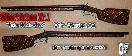 """Für den Folgefilm """"Winnetou 1.Teil"""" erhielt sie einen völlig neuen Gewehrkolben. Optisch angepasst an Karl-May's Silberbüchse aus dem Museum in Radebeul."""