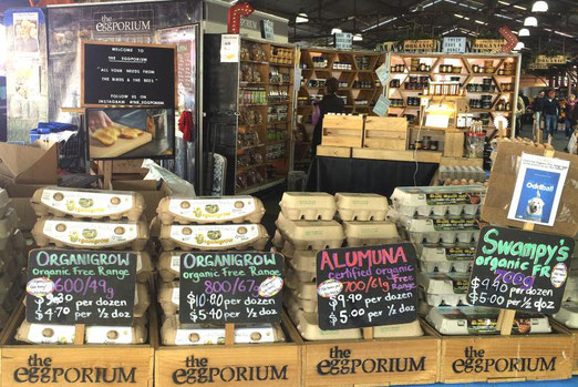 Eier ohne Ende: Der Queen Victoria Market bietet eine gewaltige Auswahl von Bio-Produkten. (Bild: Wolfgang Fassbender)