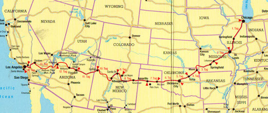 Die Reiseroute: Illinois-Missouri-Kansas-Oklahoma-Texas-New Mexico-Arizona-Abstecher nach Nevada-Kalifornien