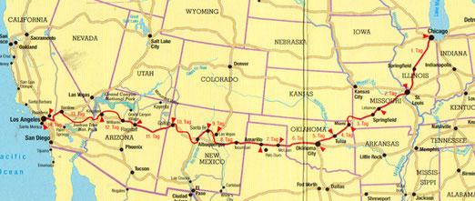 Die Reiseroute: Illinois-Missouri-Kansas-Oklahoma-Texas-New Mexico-Arizona-Abstecher nach Nevada-Kalifornien