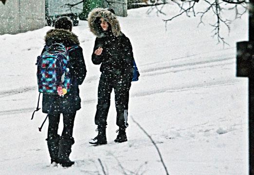 13. Januar 2021 - Wenn es etwas zu sagen gibt, muss es gesagt werden. Trotz Kälte und Schneegestöber.