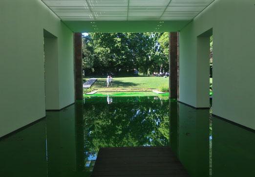 15. Juni 2021 - Der Künstler Olafur Eliasson hat den Teich im Garten des Museums Bayeler in Riehen mit den Innenräumen der Ausstellung zu einer durchgehenden Wasserlandschaft verbunden.