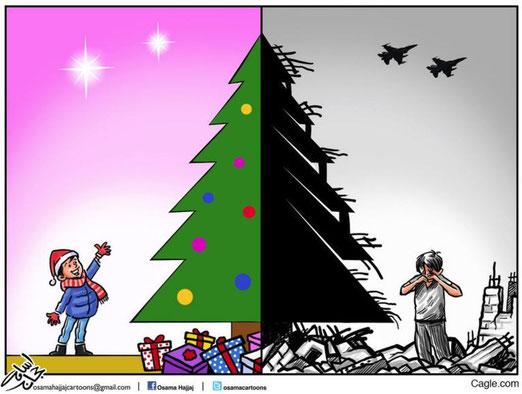 Weihnachten und Krieg Bild: Osama Hajjaj, Jordanien/Cagle.com