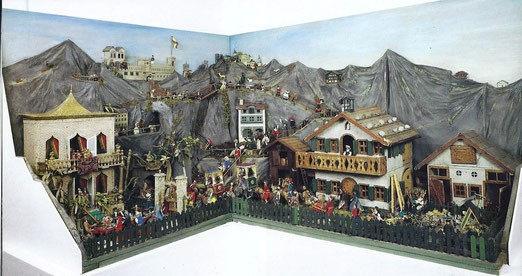 Silber-Krippe - Hirtenverkündigung, Anbetung der Hirten und der Könige, Hochzeit zu Kanaa. Masse 120x100 - 150-100 cm. 18.-20 Jh.