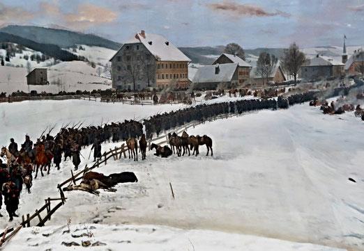 01. Februar 1871.  87'000 französische Soldaten, Offiziere und  Flüchtlingen überschreiten die Schweizer Grenze:  die geschlagene Bourbaki-Armee. (Ausschnitt: Panorama in Luzern)