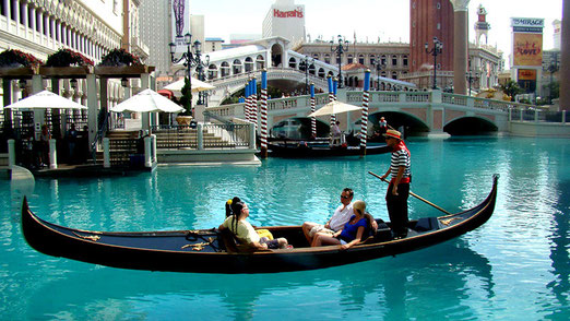 """Eine Bootsfahrt auf dem Canale Grande in """"Venedig""""; auch das kann man in Las Vegas haben!"""