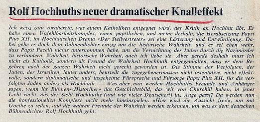 """Nachzug anlässlich Hohmuths nächstem Theaterstück """"Soldaten"""". Kommentar des Chefredaktors in der """"Thurgauer Volkszeitung"""" vom 11. Juli 1967"""