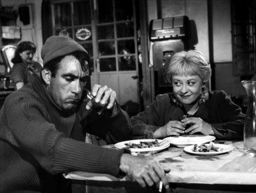 """La strada"" von Federico Fellini mit Anthony Quinn und Giulietta Masina"
