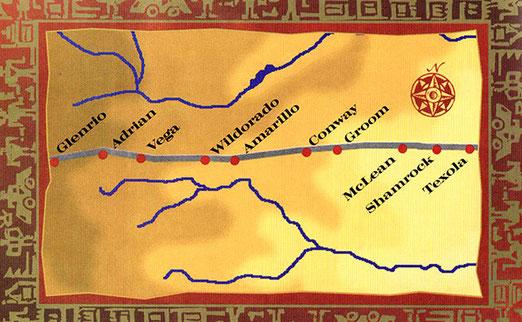 Das sind die Städte die wir durchfahren im Norden von Texas, bis zum Erreichen des Bundesstaates NEW MEXICO.