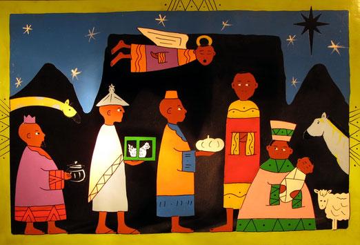 3. Dezember - Südafrika. Anbetung der Drei Könige. Aus Blecch, ausgestanzt, handbemalt.