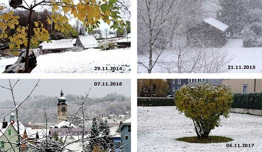 An welchem Tag kam der erste Schnee in den letzten vier Jahren.....