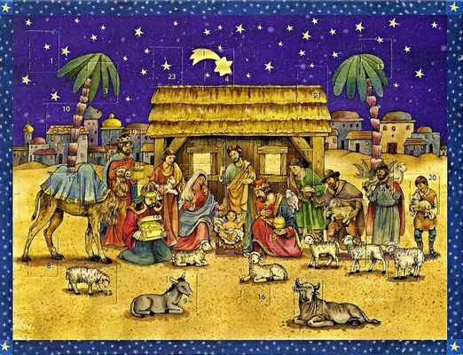 "Postkarten-Adventskalender ""Besuch im Stall"""