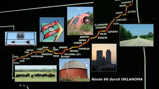 Fahrt auf der Route 66 durch den Bundesstaat Oklahoma