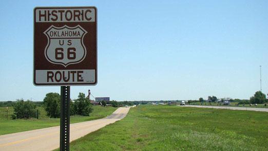 Typische Route 66 Strecke zwischen El Reno - Calumet und Clinton.
