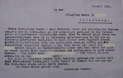 """Antwortschreiben der """"Schwester Oberin"""" der """"Heil- u. Pflegeanstalt"""" Heggbach an """"den Pflegling Maria M."""" (Anonymisierung durch die Gedenkinitiative Nürtingen) vom 8. April 1941"""