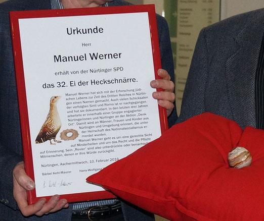 Urkunde und Ei der Heckschnärre für Manuel Werner, Nürtingen