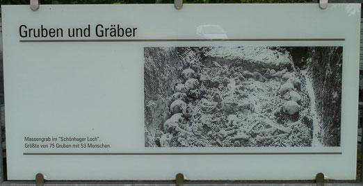 """Massengräber im """"Schönhager Loch"""", Tafel bei der KZ Gedenkstätte Dautmergen-Schömberg, aus: www.alemannia-judaica.de, kann größer geklickt werden (http://www.alemannia-judaica.de)"""