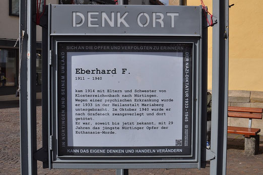 Denk Ort, Nürtingen, Erinnerung an Eberhard F., Foto: M.Werner - Das Bild kann per Klick vergrößert werden.