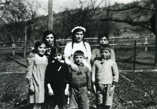 Sieben der Geschwister Köhler, vorne rechts Anton Köhler. Nur Waltraud, hinten Mitte, und Josef, nicht auf dem Bild, überlebten, Foto: Johanna Nägele, Bildrechte:
