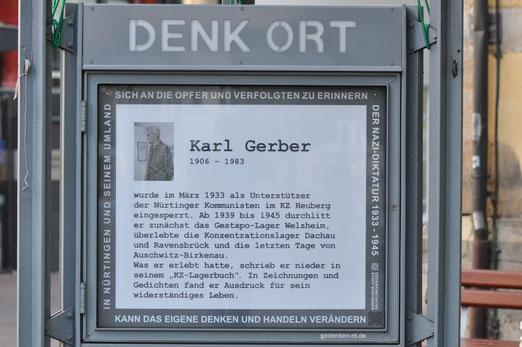 DenkOrt Nürtingen, Erinnerung an Karl Gerber, kann größer geklickt werden, Foto: MWerner