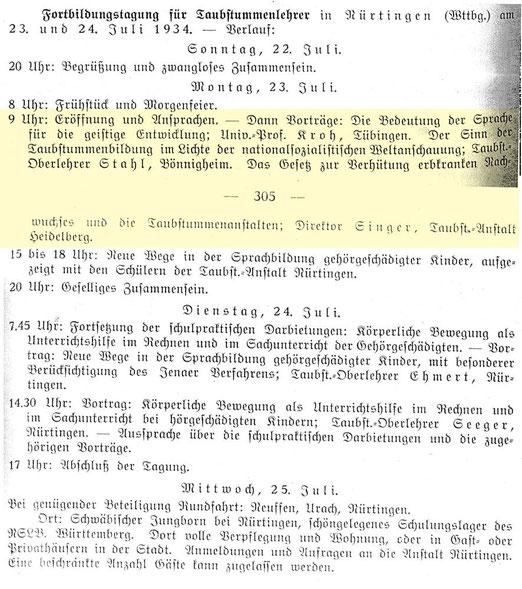 Einladung zur Tagung, Quelle: Die Deutsche Sonderschule 1 (1934), 304f.