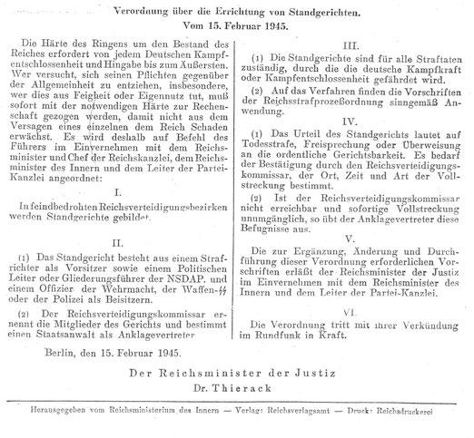 Verordnung über die Errichtung von Standgerichten vom 15. Februar 1945, Foto: Holgerjan, Lizenz: Creative Commons Attribution-Share Alike 3.0 Unported