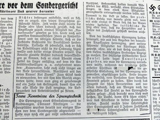 Nürtinger Tagblatt vom 2. 11. 1933