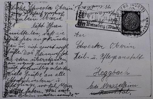 """Rückseite einer Postkarte über Maria Katharina M. an die Schwester Oberin der """"Heil- u. Pflegeanstalt"""" Heggbach"""