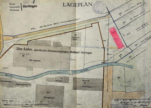 """Standort der Baracke, in der Anton Reinhardt untergebracht war (rot), Lager Linder, unten links das Gebiet der heutigen """"Alten Seegrasspinnerei"""", Quelle: Stadtarchiv Nürtingen, alle Rechte vorbehalten"""
