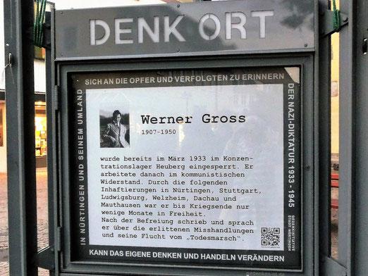 Erinnerung an Werner Gross am DenkOrt Nürtingen. Foto: Anne Schaude