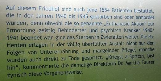 Ausschnitt der Gedenktafel auf dem ehemaligen Krankenhaus-Friedhof in Zwiefalten. Foto: A.Schaude