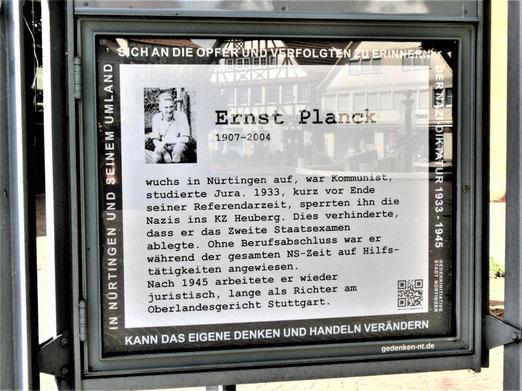Ernst Planck, DenkOrt Nürtingen, Foto: A. Schaude