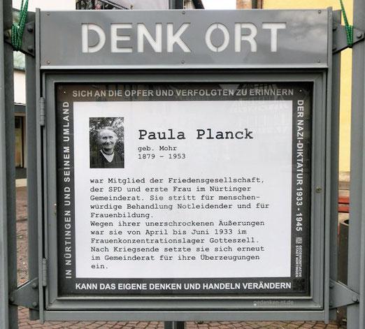 DenkOrt Nürtingen, Erinnerung an Paula Planck, kann größer geklickt werden, Foto: Anne Schaude