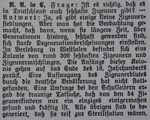 Mediale Diffamierung von Sinti im Nürtinger Tagblatt aus dem Jahr 1937