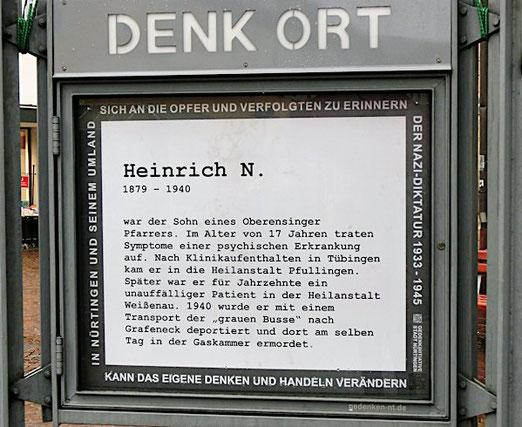 Gedenken an Heinrich N., Nürtingen, DenkOrt