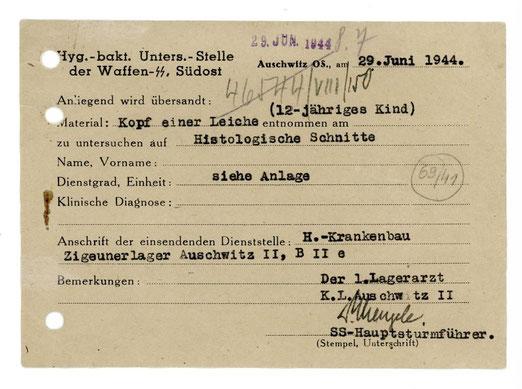 """Dr. Josef Mengele übersendet den Kopf eines 12jährigen Kindes aus dem """"Zigeunerlager"""" Auschwitz 2 für histologische Schnitte, Sammlung des Archivs des Staatsmuseums Auschwitz-Birkenau, Oświęcim,"""