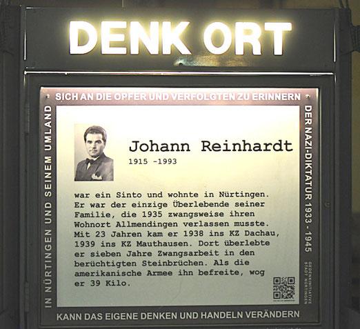 DenkOrt Nürtingen, Erinnerung an Johann Reinhardt, Foto: Manuel Werner
