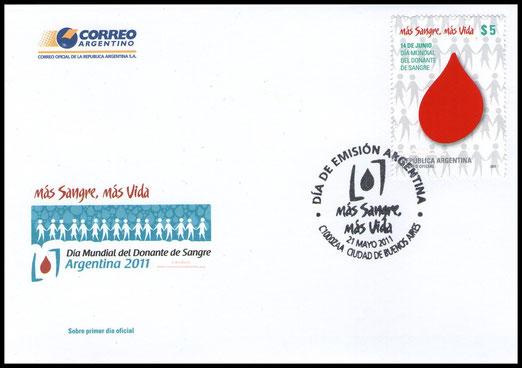 Primer Sello Argentino que Promociona la Donación Voluntaria, Solidaria y Altruista de SANGRE. Día de emisión Sábado 21 de Mayo de 2011.