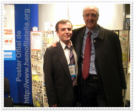 MUCHAS GRACIAS al Dr. Gianfranco Massaro (Italy)  President of the IFBDO/FIODS, por visitar el Stand y Expo-Poster de la HeMOFiLATELIA, A. Drago.