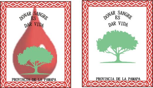 """Región CENTRO. Envió: Equipo de Promoción, Gral. Pico - La Pampa. (Dos Ejemplos) Lema: """"DONAR SANGRE ES DAR VIDA""""."""