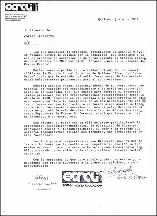 2a Nota dirigida al Correo Oficial de la República Argentina, Junio de 2011. Fundamentos de nuestra propuesta. SELLO POSTAL Escuela Normal Superior de Quilmes - ExANQUI.