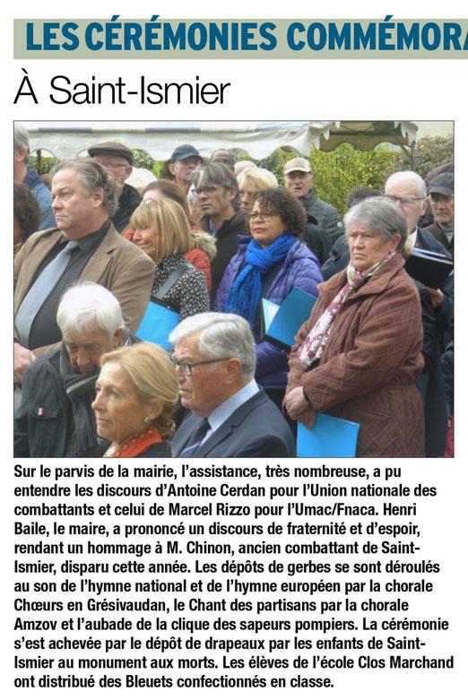 Article du Dauphiné Libéré du 12/11/2017