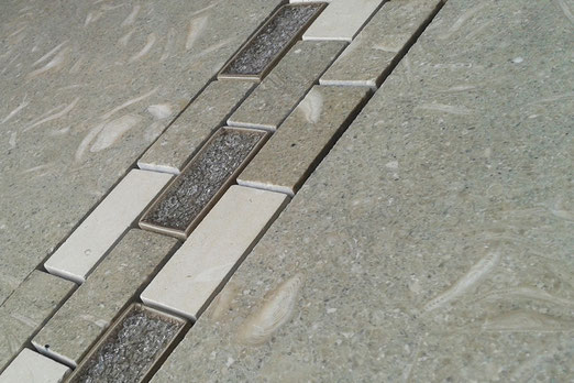 Green limestone tiles and mosaic