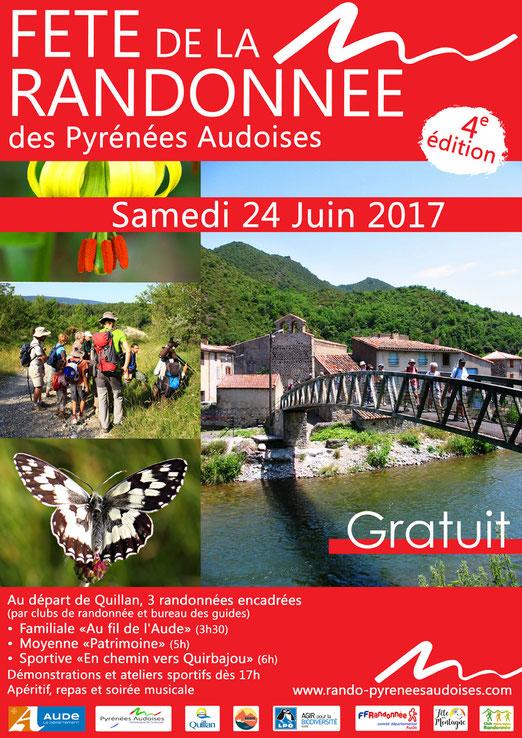 Affiche Fête de la Randonnée des Pyrénées Audoises - 24 juin 2017